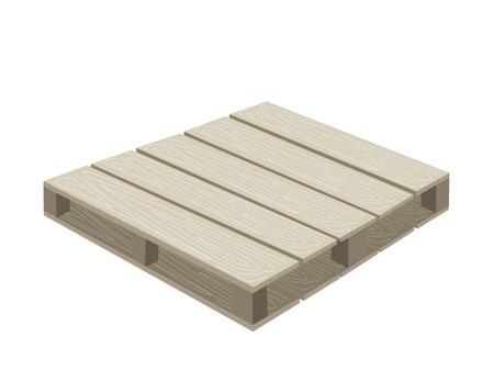 palet: Empty Pallet embalaje utilizados para el almacenamiento y transporte aislada sobre fondo blanco. Vectores