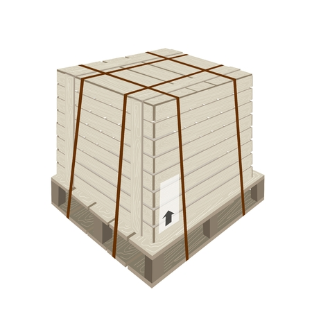 An Illustration of Wooden Crate or Cargo Box with Steel Banding on A Wooden Pallet, For Secure Cargo Transportation.  Vector