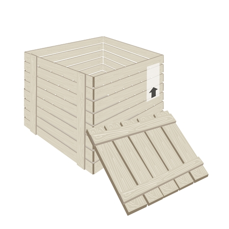 wooden crate: An Illustration of Open Wooden Crate or Cargo Box for Shipping Heavy and Dense Products, Isolated on White Background  Illustration
