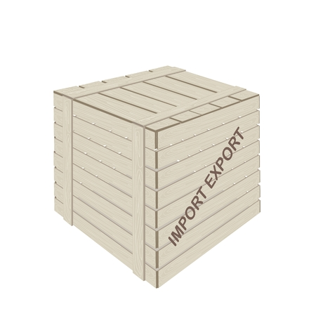 An Illustration of Wooden Crate or Cargo Box for Shipping Heavy and Dense Products, Preparing for Freight Shipment.  Vector