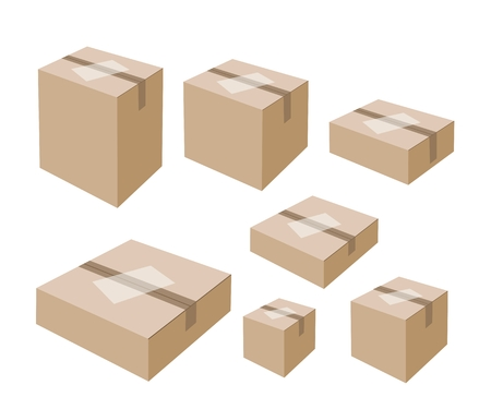 흰 배경에 고립 된 빈 흰색 라벨 봉인 된 골 판지 상자의 다양한 크기 일러스트