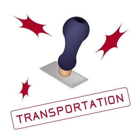 stamper: Handle Stamper Ready to Stamp Transportation on White Background.