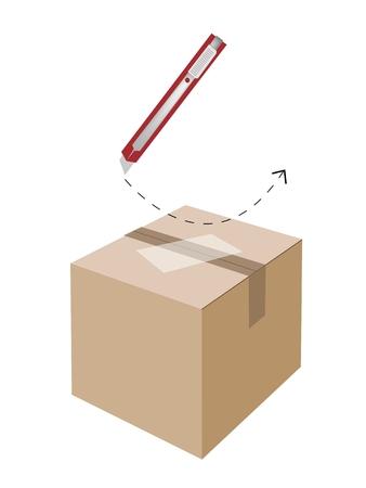 box cutter: El procedimiento de corte seguro para el uso de un cuchillo o cortador de caja para abrir una caja de cart�n sellada aislada sobre fondo blanco.