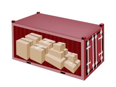 Un groupe de bo�tes de carton dans Container, conteneur de fret ou de contenants d'exp�dition, pr�t pour l'exp�dition. Illustration