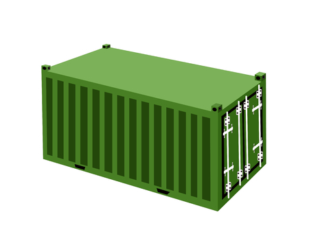 An Illustration Green Cargo Container, Freight Container or Shipping Container for Portable Storage, Overseas Shipping or Mobile Office.