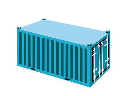 freight container: Una luz azul Contenedor de carga Ilustraci�n, Freight Container o Transporte de Contenedores de almacenamiento port�til, env�o de ultramar u Office Mobile. Vectores
