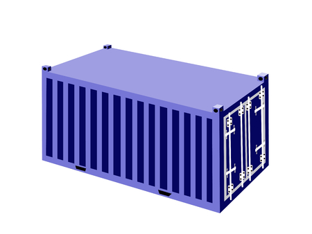 container freight: An Illustration Blue Cargo Container, Freight Container or Shipping Container for Portable Storage, Overseas Shipping or Mobile Office.