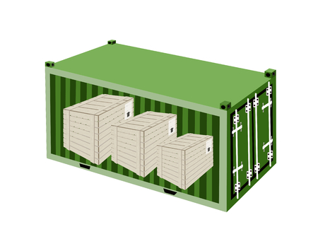 cargo container: A Group of Wooden Crates or Cargo Boxs in Green Cargo Container, Freight Container or Shipping Container, Ready for Shipment.  Illustration