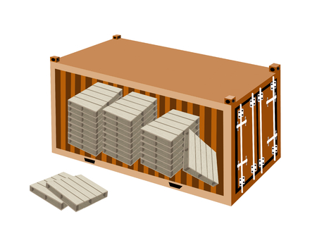 A Group of Shipping Pallets in Orange Cargo Container, Freight Container or Shipping Container, Ready for Shipment.  Vector