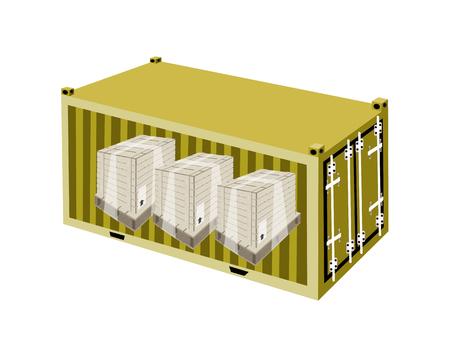 freight container: Un grupo de cajas de madera o cajas de carga envuelta en pl�stico Shrink Wrap en Contenedor de carga amarillo, contenedor o envase de env�o, listo para su env�o. Vectores