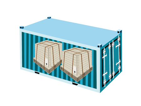 A Group of Wooden Crates or Cargo Boxes Wrapped Protection with Steel Banding in Light Blue Cargo Container, Freight Container or Shipping Container, Ready for Shipment.  Vector