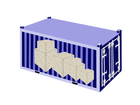 container freight: A Group of Wooden Crates or Cargo Boxs in Blue Cargo Container, Freight Container or Shipping Container, Ready for Shipment.  Illustration