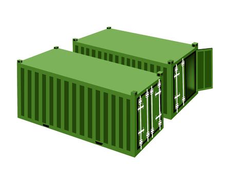 overseas: Dos contenedores de carga verdes, contenedores o jaulas de transporte para almacenamiento port�til, env�o de ultramar o de Office Mobile. Vectores