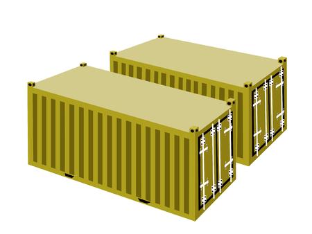 overseas: Dos contenedores de carga Amarillas envases, contenedores o jaulas de transporte para almacenamiento port�til, env�o de ultramar o de Office Mobile.