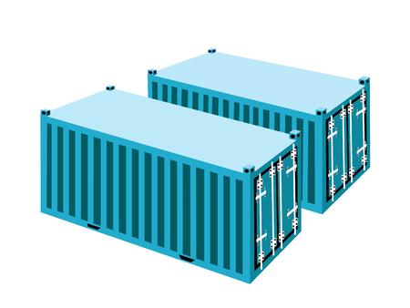 overseas: Dos contenedores de luz azul del cargo, contenedores o jaulas de transporte para almacenamiento port�til, env�o de ultramar u Office Mobile.