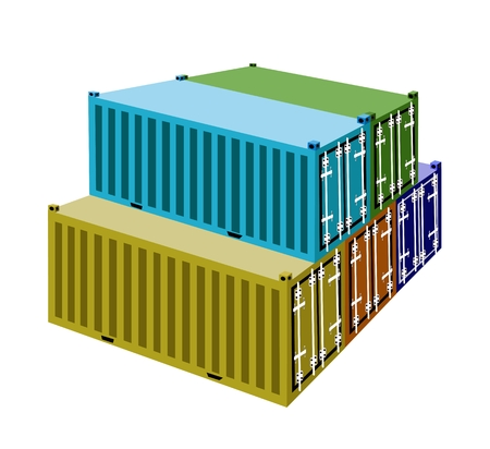 A Stack of Cargo Containers, Freight Containers or Shipping Containers for Portable Storage, Overseas Shipping or Mobile Office.  Vector