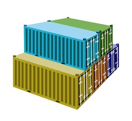 overseas: Una pila de contenedores de carga, contenedores o jaulas de transporte para almacenamiento port�til, env�o de ultramar o de Office Mobile.
