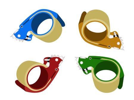 strapping: Various Colors of Packing Tape Dispenser or Adhesive Tape Dispenser Isolated on White Background.