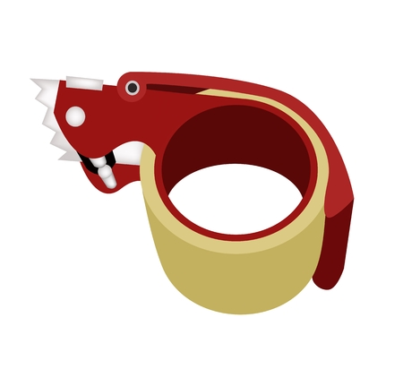 box cutter: A Red Packing Tape Dispenser or Adhesive Tape Dispenser For Closing Cardboard Boxes, Isolated on White Background.