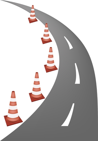 redirection: A Row of Orange and White Safety Road Cones or Traffic Cones on A Road for Traffic Redirection or Warning of Hazards or Dangers.  Illustration