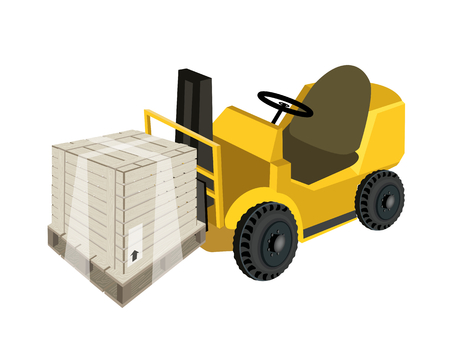 shrink wrapped: Powered Industrial Forklift, Fork Heavy Machine, Fork Truck or Lift Truck Loading A Wooden Crate or Cargo Box Wrapped in Plastic Shrink Wrap, Isolated on White Background