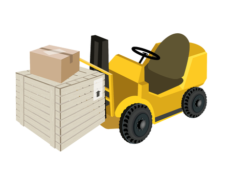distribution picking up: Powered Industrial Forklift, Fork Heavy Machine, Fork Truck or Lift Truck Loading A Wooden Crate or Cargo Box and Sealed Cardboard Box, Preparing for Shipment.