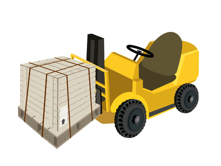 banding: Powered Industrial Forklift, Fork Heavy Machine, Fork Truck or Lift Truck Loading A Wooden Crate or Cargo Box Wrapped in Steel Banding on A Wooden Pallet, Isolated on White Background