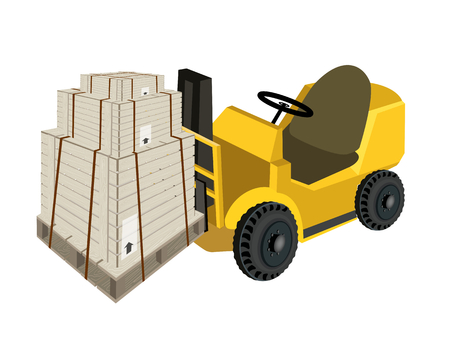 Powered Industrial Forklift, Fork Heavy Machine, Fork Truck or Lift Truck Loading Three Wooden Crates or Cargo Boxes Wrapped in Steel Banding, Isolated on White Background  Vector