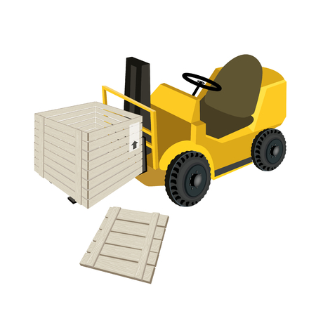 shrink wrapped: Powered Industrial Forklift, Fork Heavy Machine, Fork Truck or Lift Truck Loading An Open Wooden Crate or Cargo Box Wrapped in Plastic Shrink Wrap, Isolated on White Background  Illustration