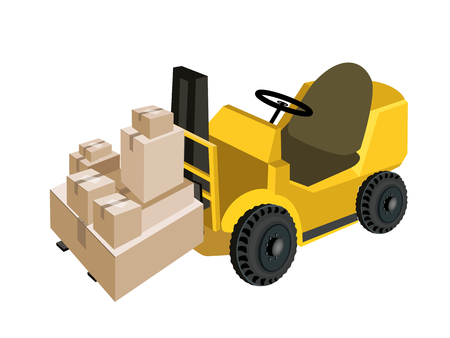 distribution picking up: Powered Industrial Forklift, Fork Heavy Machine, Fork Truck or Lift Truck Loading A Stack of Sealed Cardboard Boxes, Ready for Shipping.