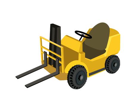 lift truck: Un ejemplo de almac�n o de construcci�n Montacargas, Tenedor m�quina pesada, Tenedor de camiones o carretillas elevadoras para la elevaci�n y transporte de materiales, aisladas sobre fondo blanco
