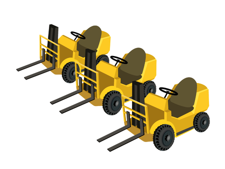 heavy construction: Illustration of Three Warehouse or Construction Forklift, Fork Heavy Machine, Fork Truck or Lift Truck For Lift and Transport Materials, Isolated on White Background  Illustration
