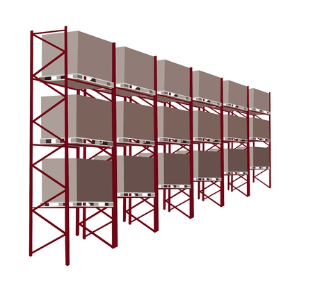 An Illustration An Industrial Warehouse and Cargo Shelf with Wooden Crate, A Commercial Building for Storage of Goods.