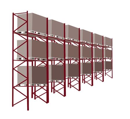 Une illustration un entrep�t industriel et plate-forme de chargement avec la caisse en bois, un b�timent commercial � l'entreposage des marchandises. Illustration
