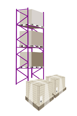 goods station: Illustration of Cargo Shelf with Wooden Crates or Cargo Boxes Wrapped in Plastic Shrink Wrap, for Storage of Goods.