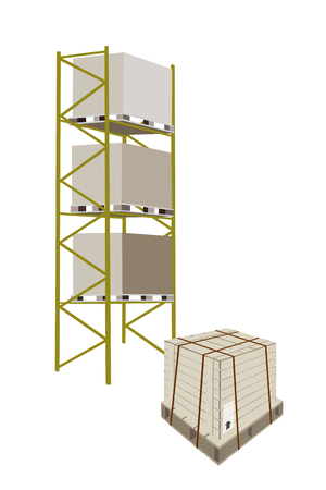 goods station: Illustration of Cargo Shelf with Wooden Crates or Cargo Boxes with Steel Banding on A Wooden Pallet, for Storage of Goods.