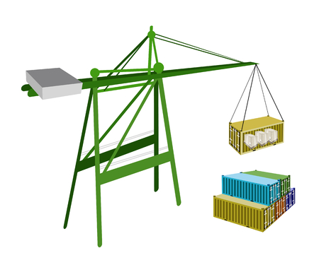 distribution picking up: A Container Crane Lifting A Freight Container from Stack To A Ship, Container Crane Is A Heavy Machine for Loading and Unloading Container from Container Ship.