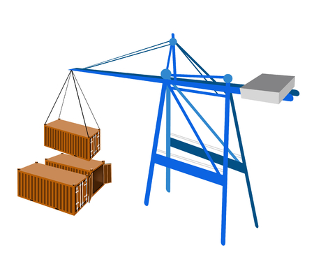 distribution picking up: A Container Crane Lifting An Orange Freight Container from Stack To A Ship, Container Crane Is A Heavy Machine for Loading and Unloading Container from Container Ship.