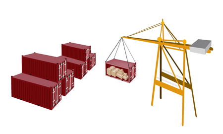 A Container Crane Lifting A Red Freight Container from Stack To A Ship, Container Crane Is A Heavy Machine for Loading and Unloading Container from Container Ship.  Vector