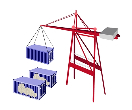 distribution picking up: A Container Crane Lifting A Blue Freight Container from Stack To A Ship, Container Crane Is A Heavy Machine for Loading and Unloading Container from Container Ship.