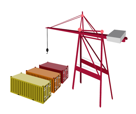 distribution picking up: A Container Crane with Three Freight Container, Container Crane Is A Heavy Machine for Loading and Unloading Container from Container Ship.