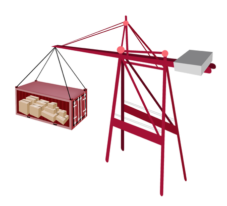 distribution picking up: A Container Crane Lifting A Red Freight Container To A Ship, Container Crane Is A Heavy Machine for Loading and Unloading Container from Container Ship.