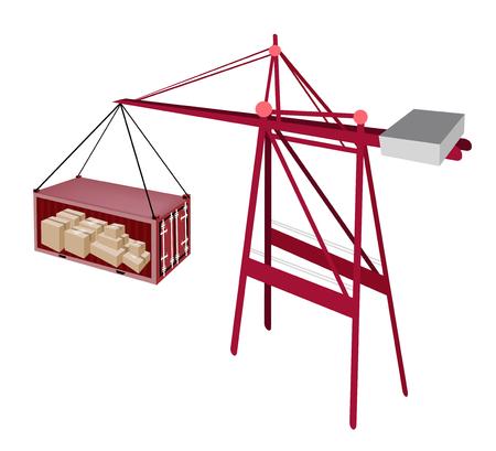 freight container: Una gr�a de elevaci�n de contenedores un contenedor rojo a un buque, de contenedores gr�a es una m�quina pesada para la carga y descarga de contenedores de buques de contenedores.
