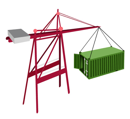 distribution picking up: A Container Crane Lifting An Open Green Freight Container from Stack To A Ship, Container Crane Is A Heavy Machine for Loading and Unloading Container from Container Ship.