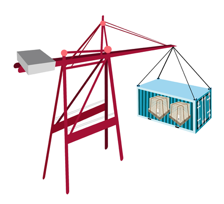 distribution picking up: A Container Crane Lifting A Blue Freight Container To A Ship, Container Crane Is A Heavy Machine for Loading and Unloading Container from Container Ship.