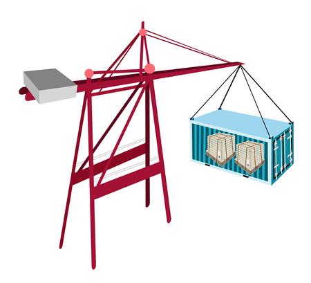 freight container: Una gr�a de elevaci�n de contenedores A Freight Container azul a un buque, de contenedores gr�a es una m�quina pesada para la carga y descarga de contenedores de buques de contenedores.