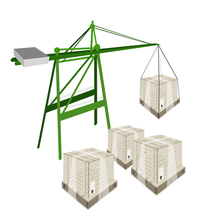 A Container Crane Lifting A Wooden Crate or Cargo Box from Stack, Preparing for Shipment.  Vector