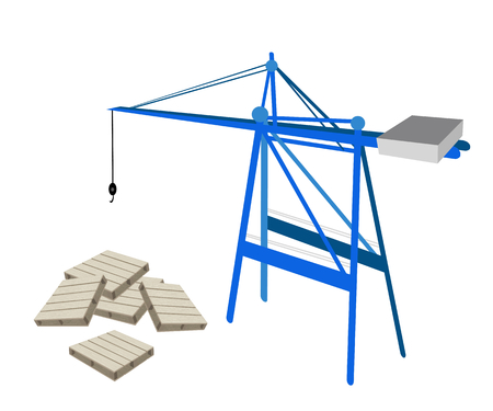 distribution picking up: A Container Crane with Shipping Pallets Preparing for Storage and Transportation.  Illustration