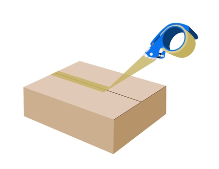 A Blue Packing Tape Dispenser or Adhesive Tape Dispenser Closing A Brown Cardboard Box Isolated on White Background.  Vector