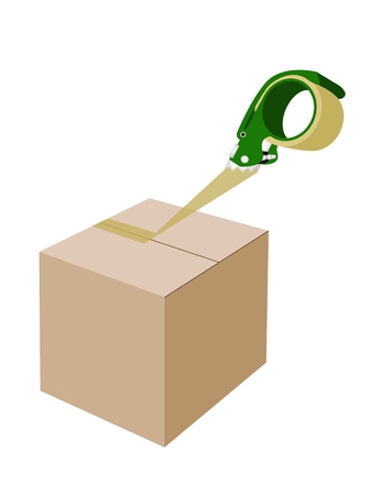 relocation: A Green Packing Tape Dispenser or Adhesive Tape Dispenser Closing A Brown Cardboard Box Isolated on White Background.
